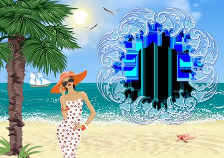 Фоторамка с девушкой в шляпе и солнечных очках около пальмы на берегу моря