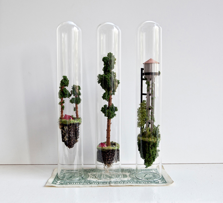 Artist Rosa de Jong continues to explore the spacious confines of glass test tubes by erecting impos
