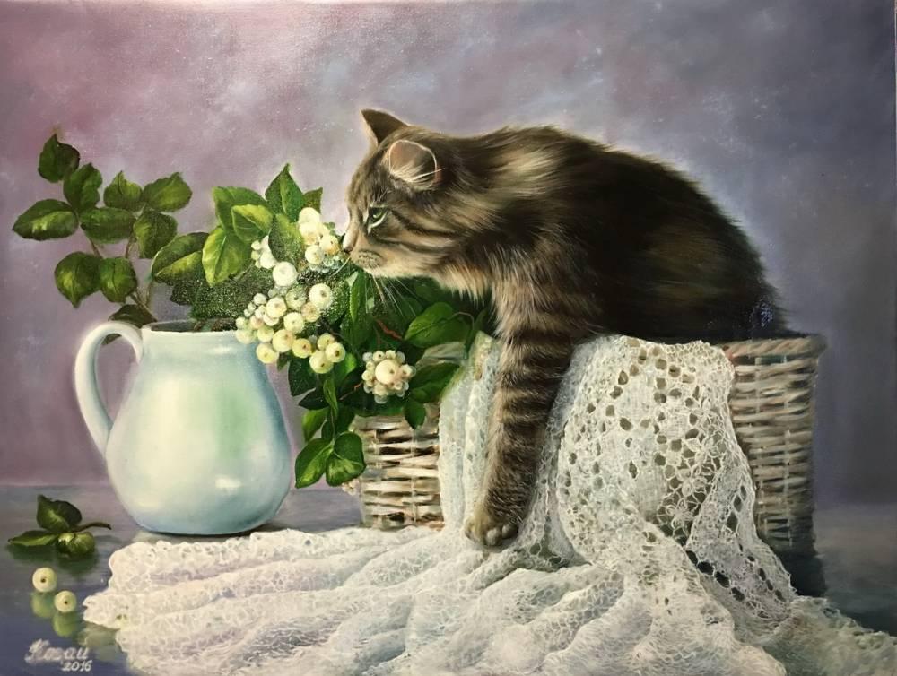 Художник Когай Жанна . Кошка в лукошке..jpg