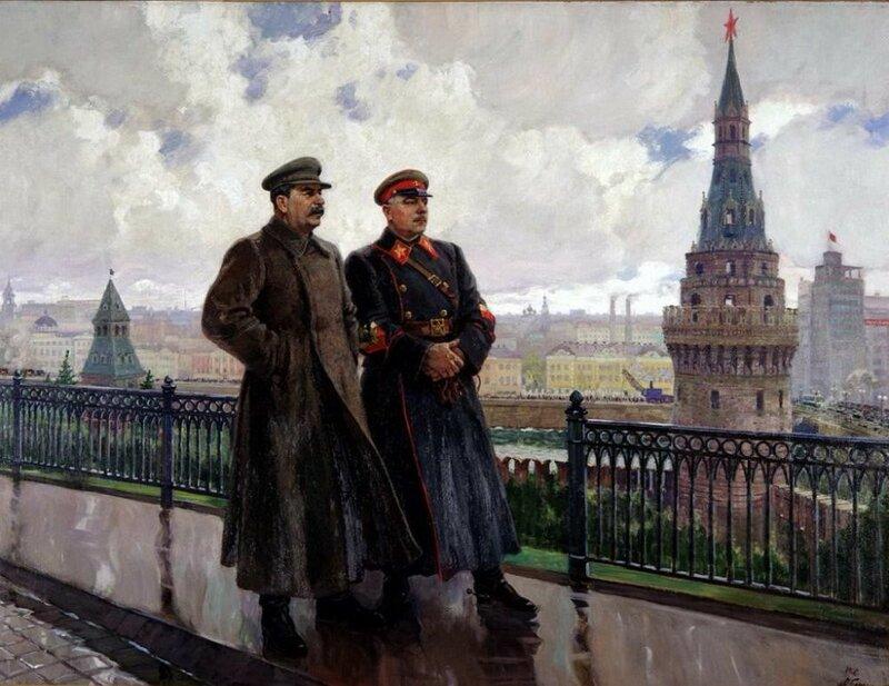 Герасимов А.М.  Сталин и Ворошилов в Кремле, 1938 год.
