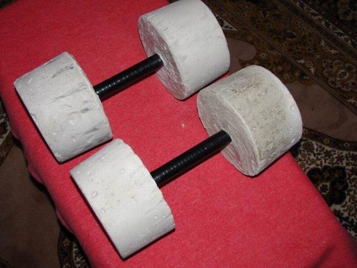 Самодельные гантели из бетона