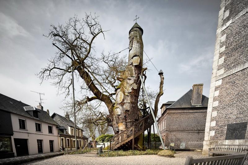 7. Тысячелетний дуб, внутри которого находится часовня, Франция.