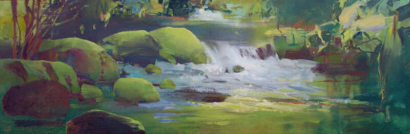 Lacamas Creek oil on canvas 10x30.jpg