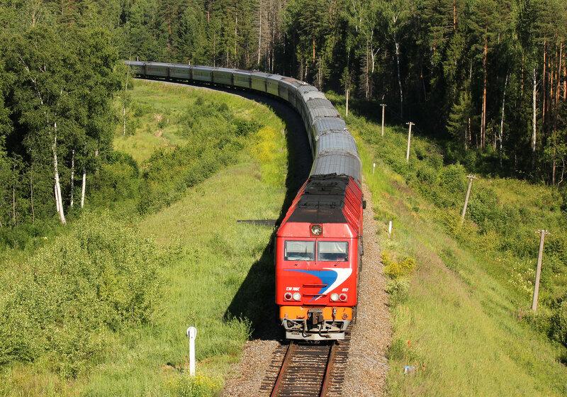 ТЭП70БС-052 с поездом 539 Кострома - Анапа на перегоне Кипрево - Бельково, мост через реку большой Киржач