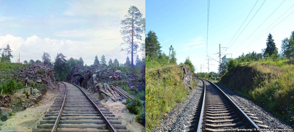 Железная дорога неподалеку от Кондопоги. 1916/2012. Фото: В. Ратников.