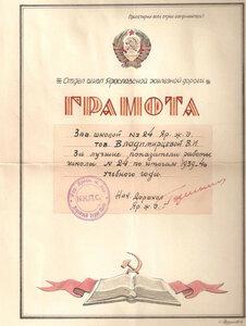 1939 г. Отдела школ Ярославской ж.д.