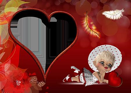 Рамка для фото с лежащей девочкой-куколкой в красном-белом наряде с красным сердечком