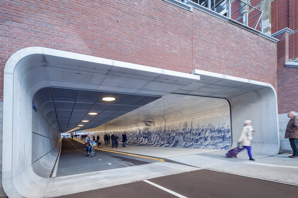 This New Cycle and Pedestrian Tunnel in Amsterdam Features an 80,000 Tile Mural Inspired by Cornelis Boumeester (8 pics)