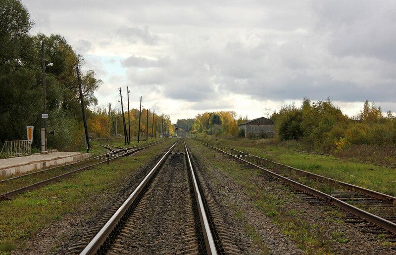 Станция Красный холм, вид на Сонково. Подъездной путь влево