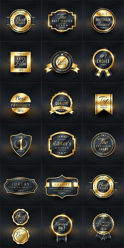 Золотые этикетки - Лучший бренд - Вектор / Golden Labels - Best Brand - Vector
