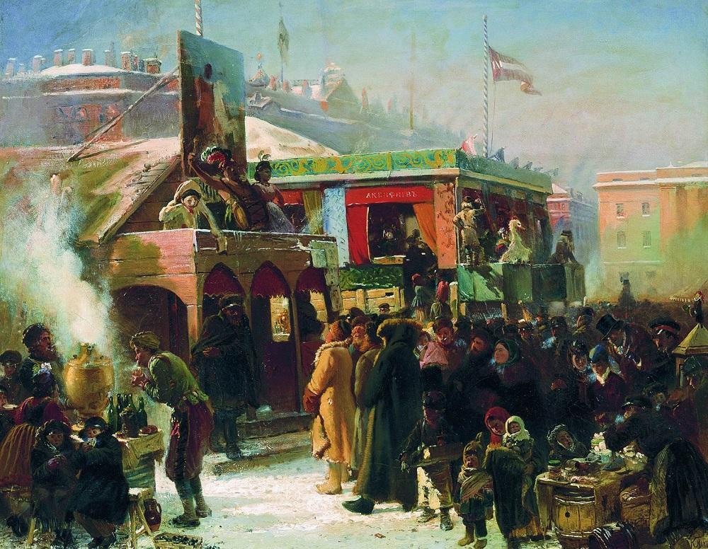 Народное гулянье во время масленицы Первоначальный эскиз картины, хранящейся в ГРМ Государственная Третьяковская галерея, Москва