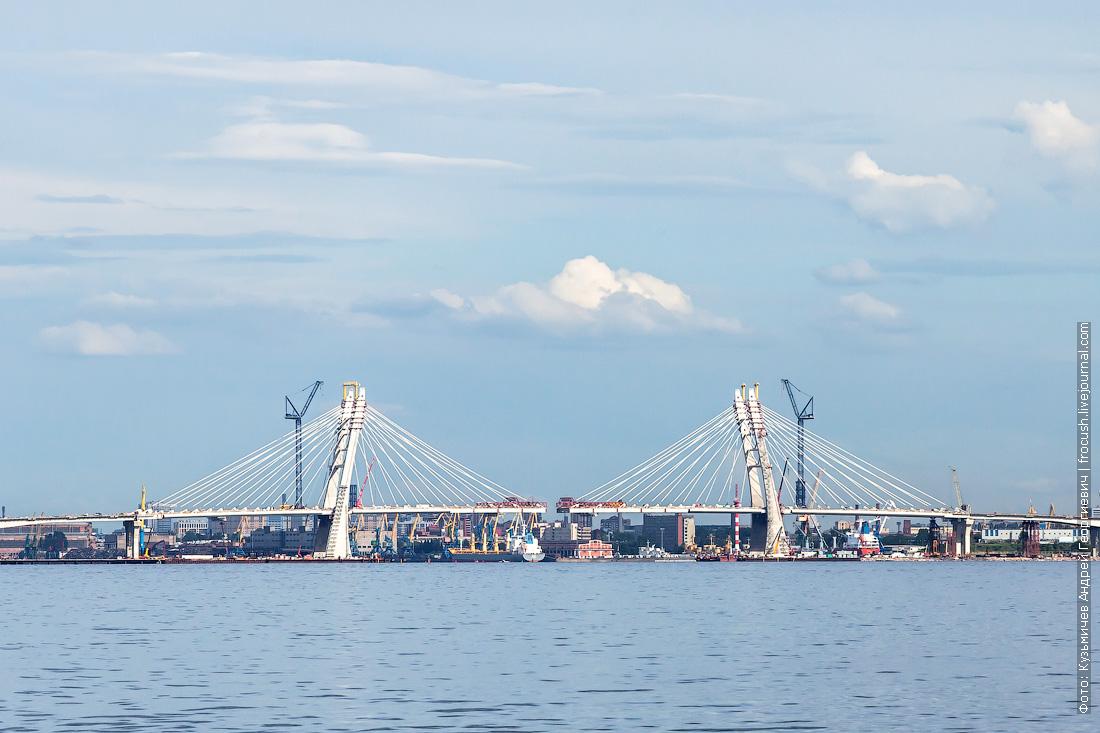Строительство вантового моста Западного скоростного диаметра через Корабельный фарватер