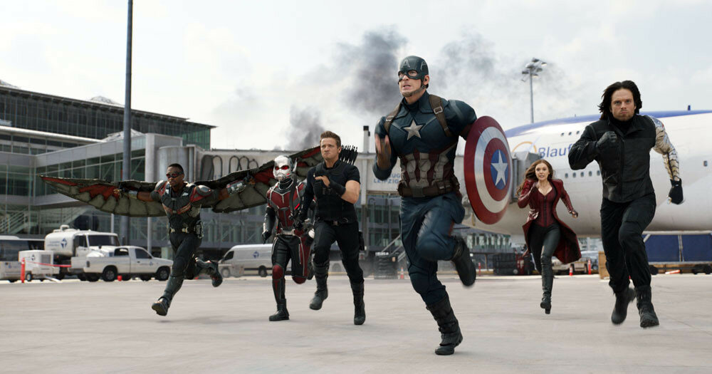 Marvel's Captain America: Civil WarL to R: Falcon/Sam Wilson (Anthony Mackie), Ant-Man/Scott Lang (Paul Rudd), Hawkeye/Clint Barton (Jeremy Renner), Captain America/Steve Rogers (Chris Evans), Scarlet Witch/Wanda Maximoff (Elizabeth Olsen), and Winter
