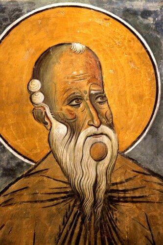 Святой Преподобный Кириак Отшельник. Фреска церкви Панагии Аракиотиссы в селе Лагудера, Кипр. 1192 год.