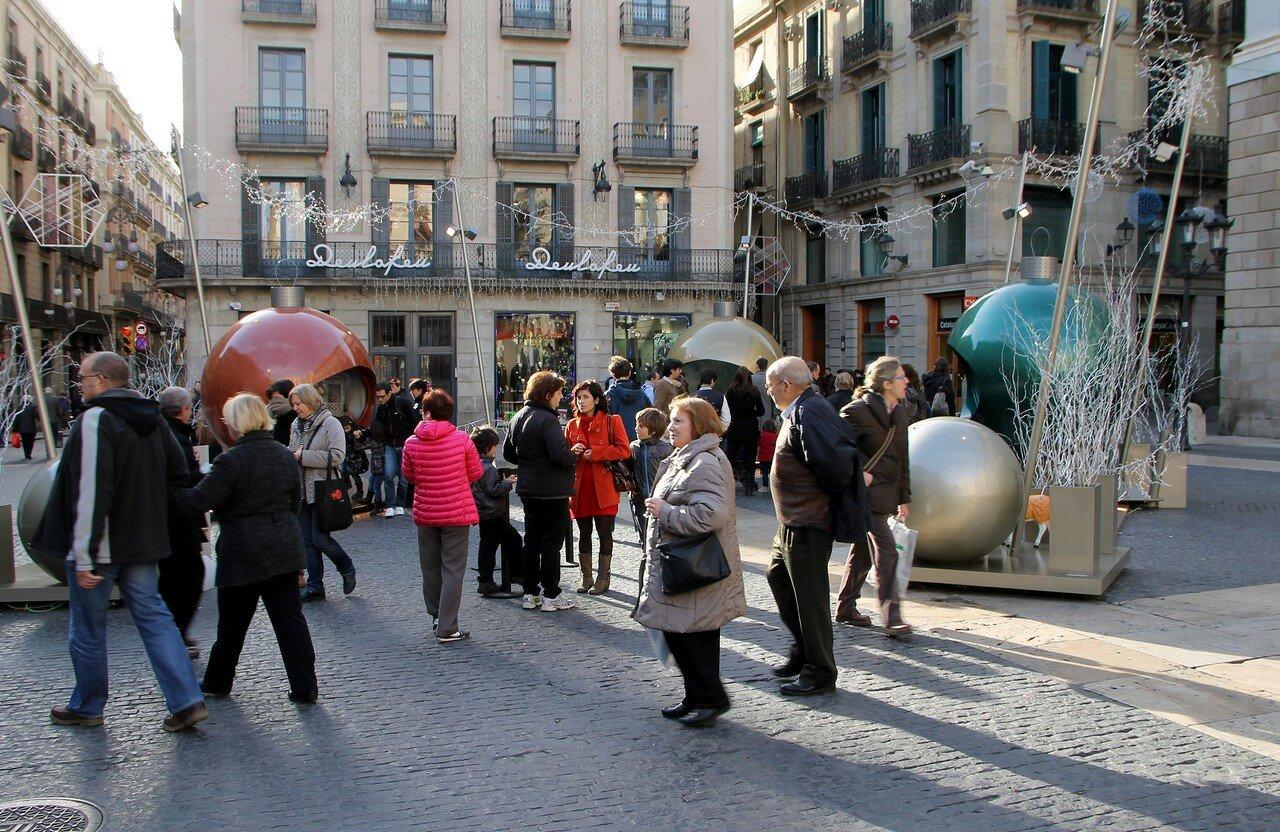 Barcelona. Christmas Nativity scenes in the square of Sant Jaime