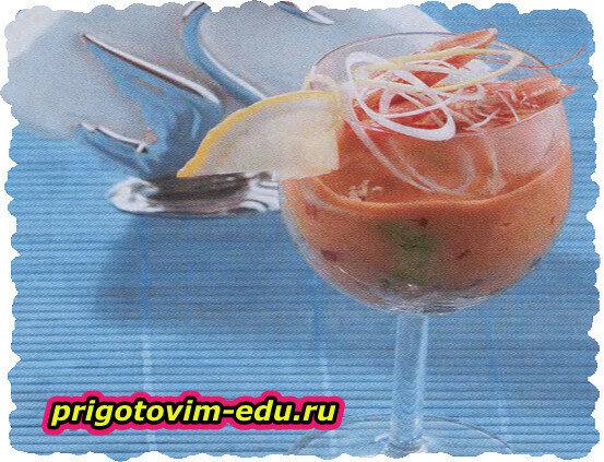 Теплый крем-салат с морепродуктами