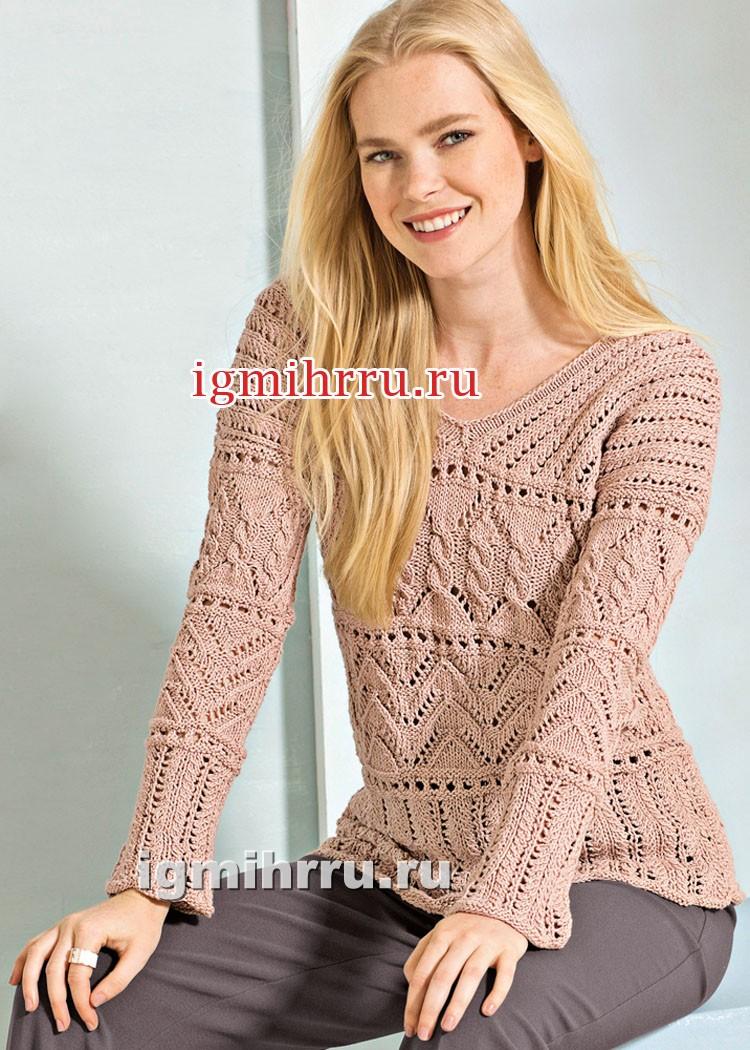 Пуловер телесного цвета с миксом ажурных узоров. Вязание спицами