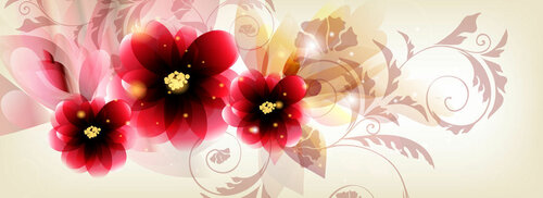 set of three banners decorated by vector flowers