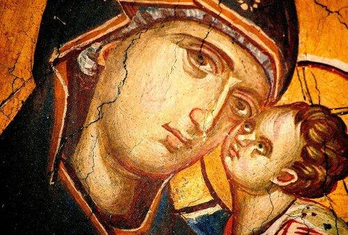 Богоматерь Умиление. Фреска монастыря Высокие Дечаны, Косово, Сербия. Около 1350 года. Лики.