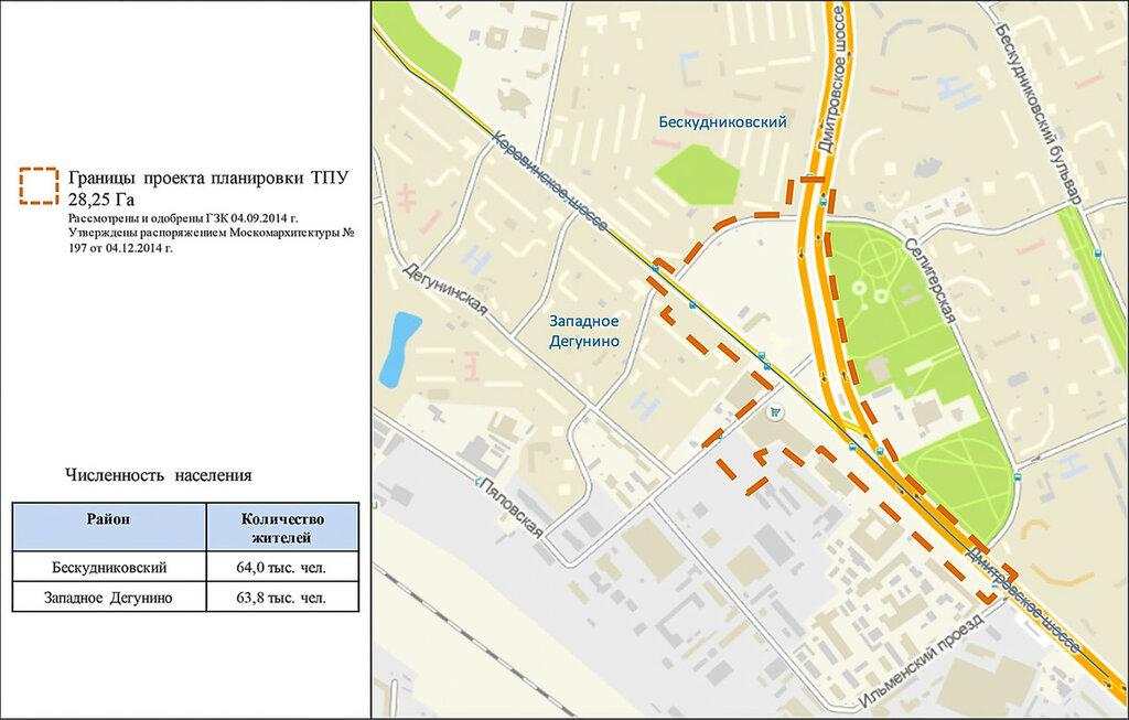 ТПУ «Селигерская», границы проекта планировки ТПУ