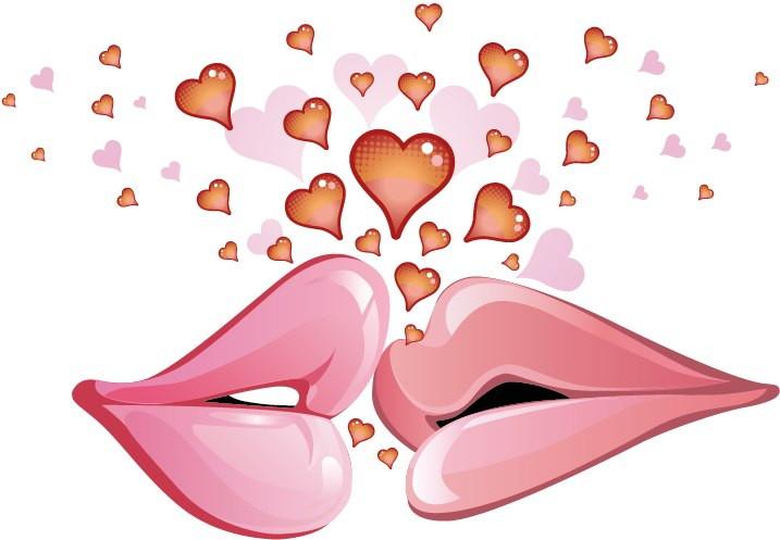 Открытки. 6 июля. С днем поцелуя! Поцелуй! Губы и сердечки открытки фото рисунки картинки поздравления