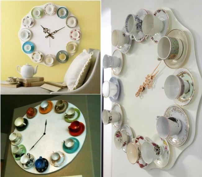 2. Аизостатков бабушкиных сервизов— соорудить настенные часы.