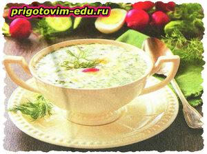 Холодный супчик с редисом и перепелиными яйцами