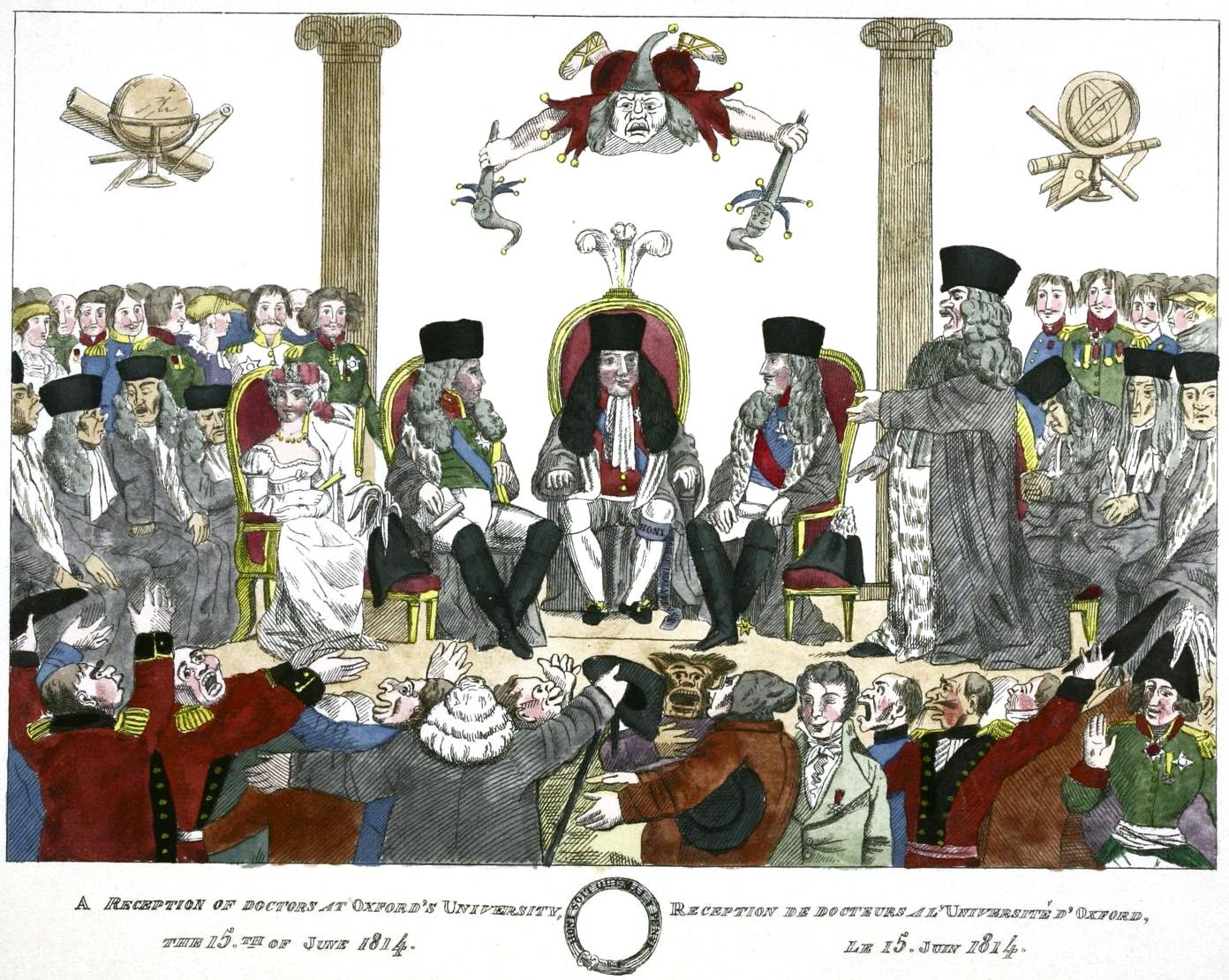239. Торжественное посвящение Александра I и Фридриха Вильгельма, в 1814 г., в доктора Оксфордского университета, в бытность их в Лондоне. В то же время докторский диплом был поднесен и Гетману Платову.