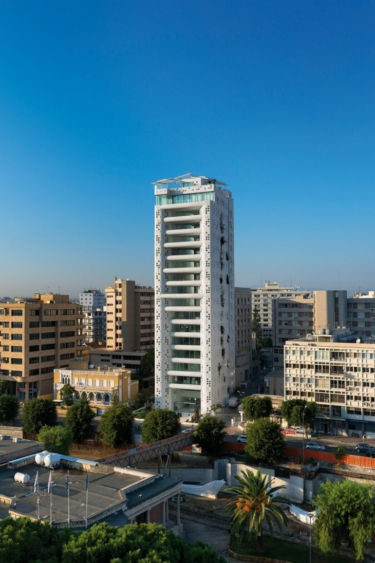 The iconic tower designed by Jean Nouvel at the center of Nicosia, next to Eleftheria Square transfo