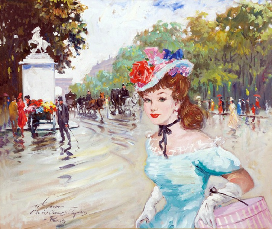Paris street scene with young lady