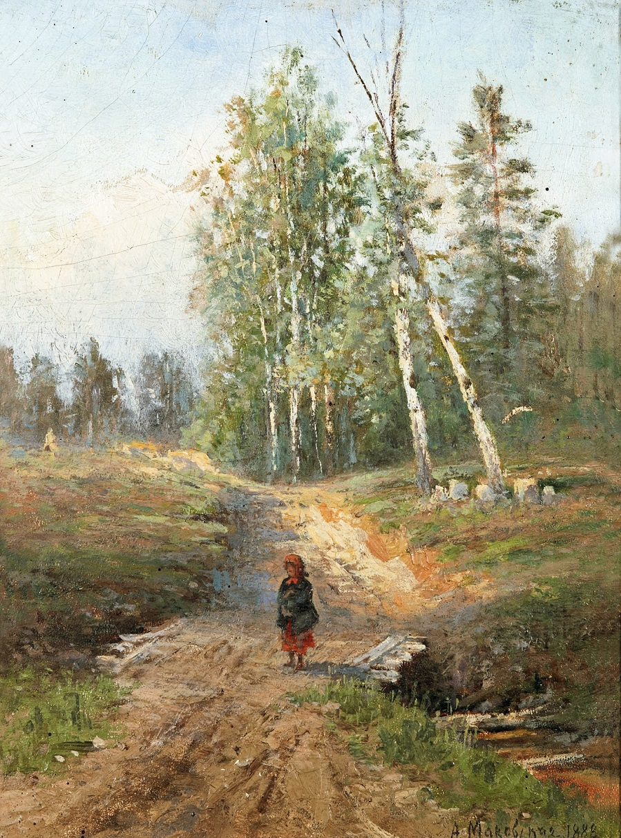 A girl on a country lane , 1888