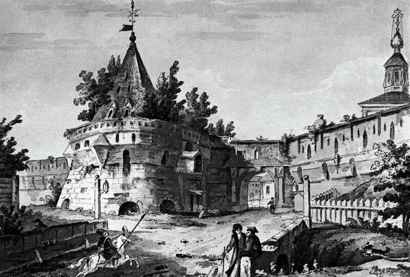 452892 Варварские ворота Китай-города в Москве. XVIII век Акварель неизвестного художника 1790-е.jpg