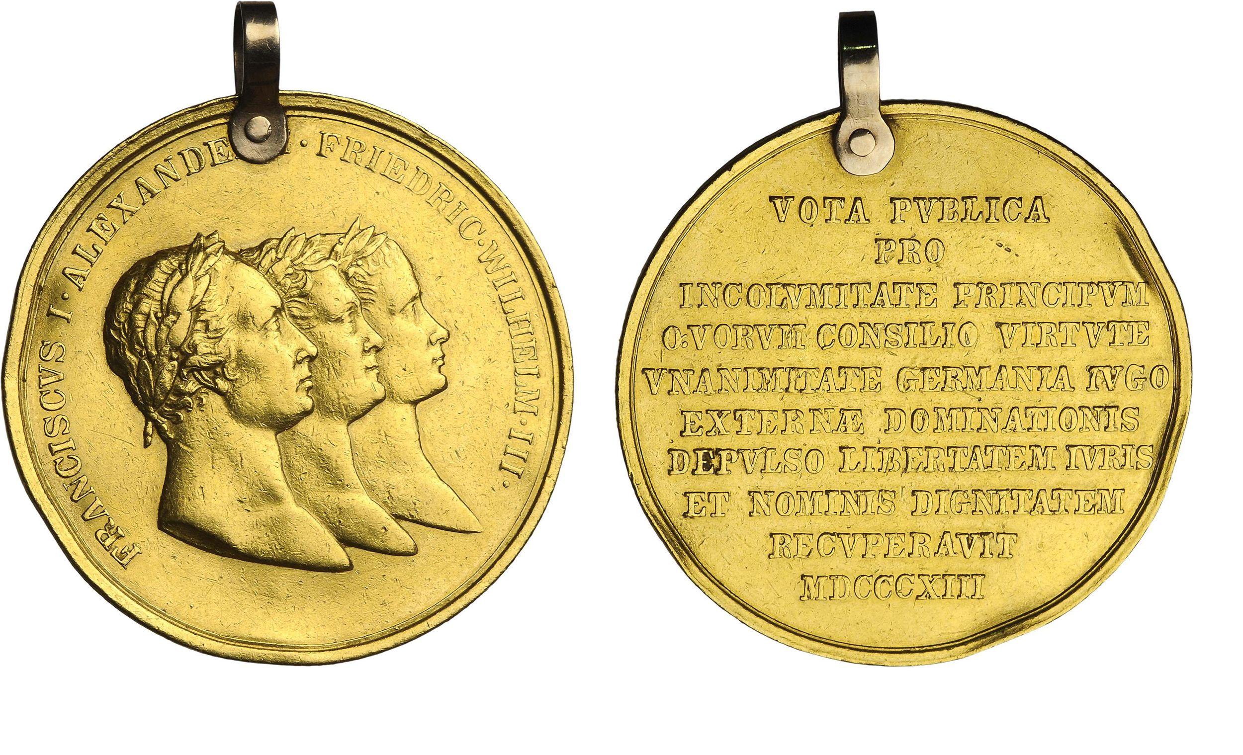 Настольная медаль «В память заключения Тройственного союза. 1813 г.»