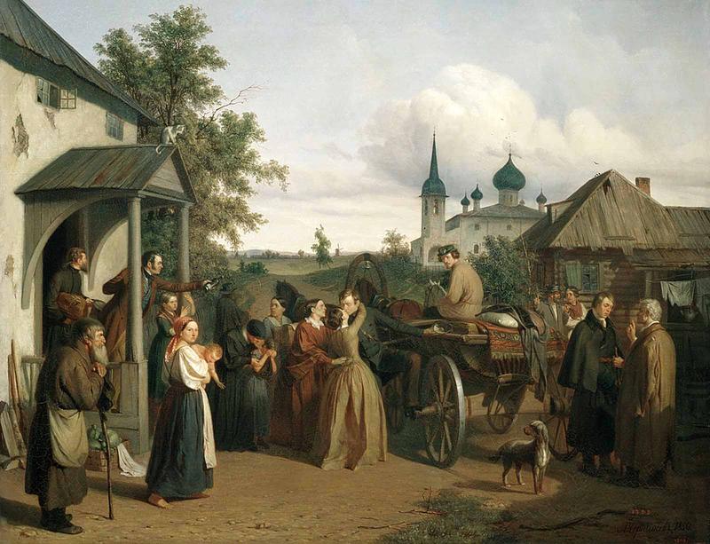 1850 Прощание уезжающего офицера с его семейством Чернышев А.Ф..png