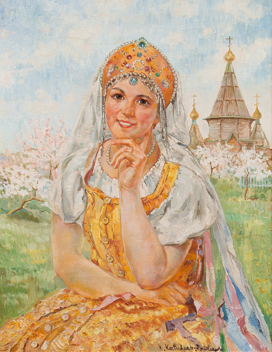 A GIRL IN TRADITIONAL COSTUME WHEN THE APPLE TREES BLOSSOM