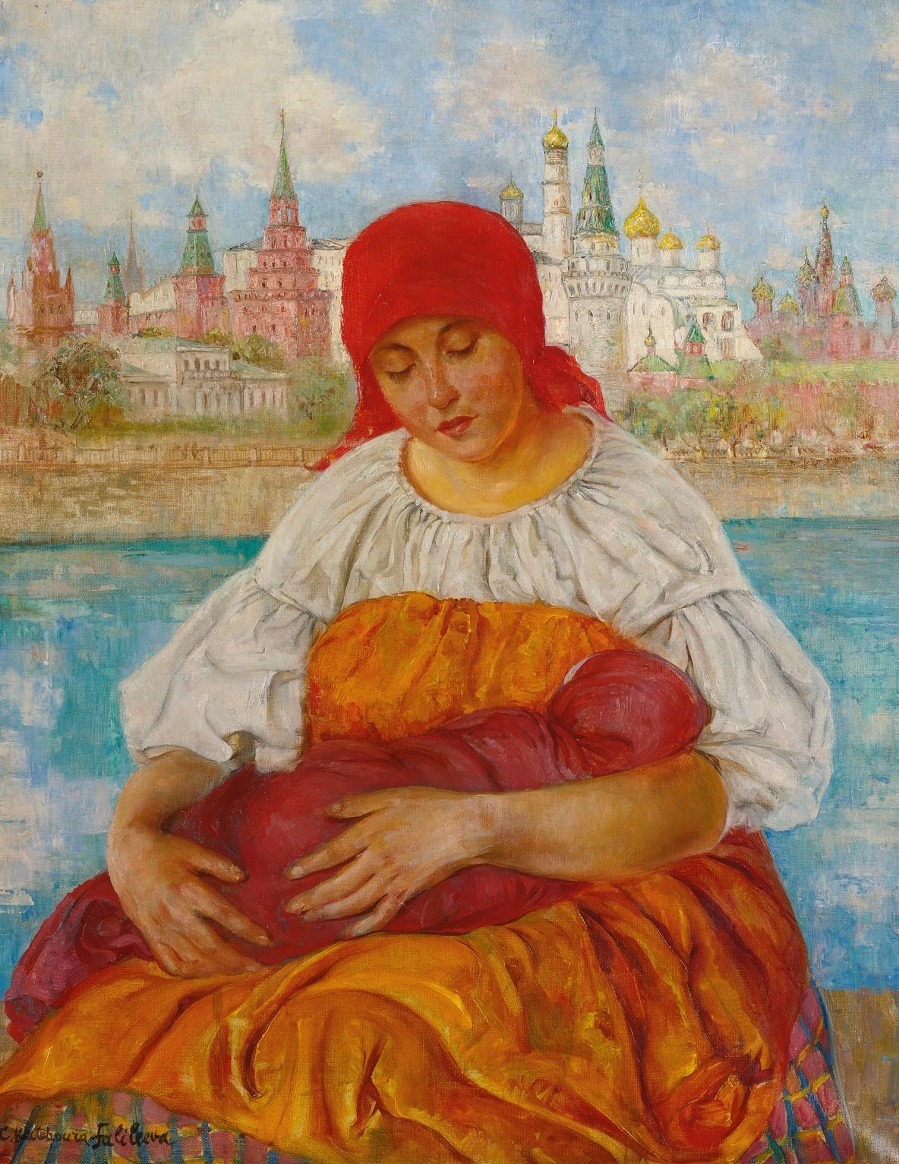 Russian Madonna (Mother and Child in Front of Kremlin. Sotheby's New York)