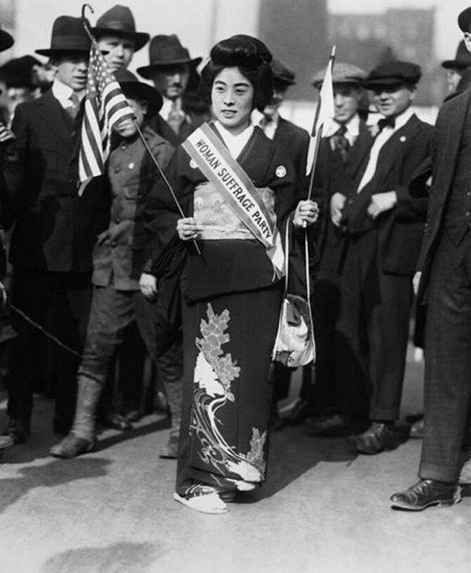 Комако Кимура – японская суфражистка, выступавшая за предоставление женщинам избирательных прав в Нью-Йорке, 1917.jpg