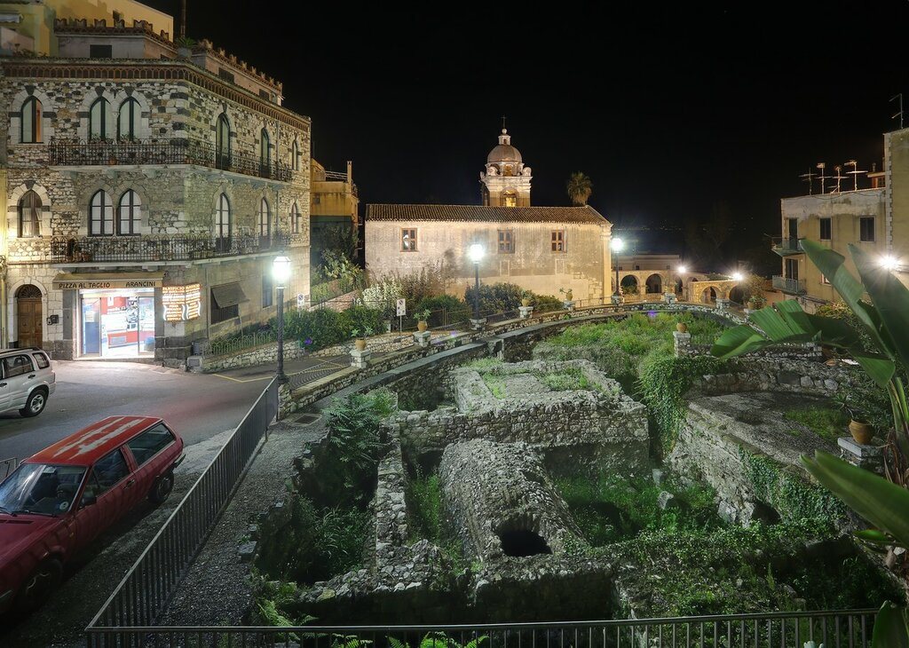 Taormina. Square of San Pancrazio, excavations, Church of San pancratius