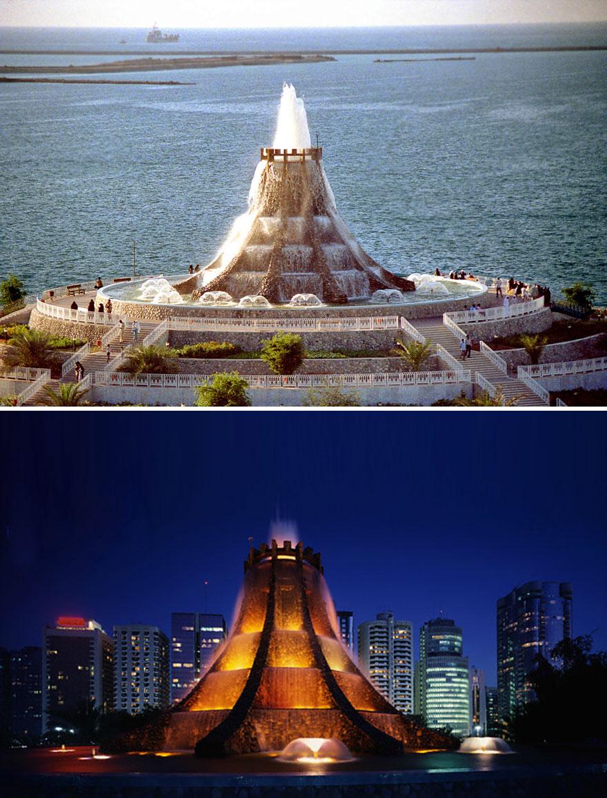 Фонтан-вулкан в Абу-Даби, ОАЭ. Был построен в 1980-х, однако в 2004 году разобран. До сих пор входит