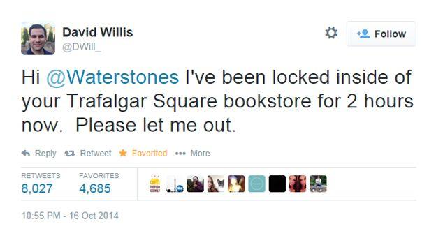 Его сообщения подхватили и разнесли по социальным сетям. Сотрудники Waterstones отреагировали,