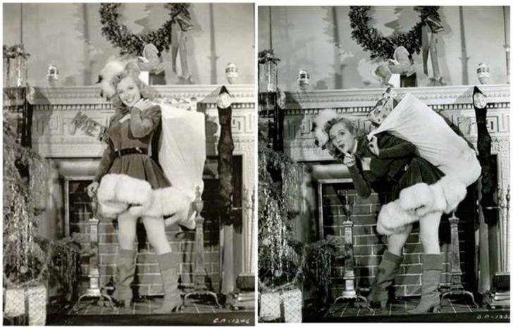 Фото слева часто выдают за один из ранних снимков Мэрилин для рождественской рекламы и периодически