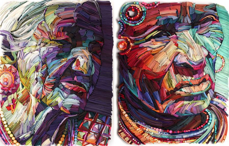 Colorful Painting-Like Paper Portraits (8 pics)