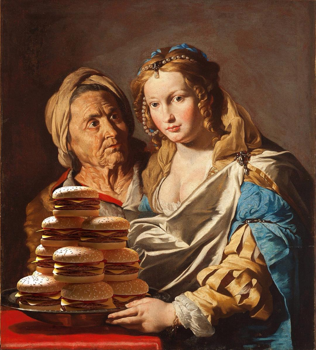 «Ваш бургер, Мадонна»: герои полотен Ренессанса поглощают горы фастфуда (13 фото)