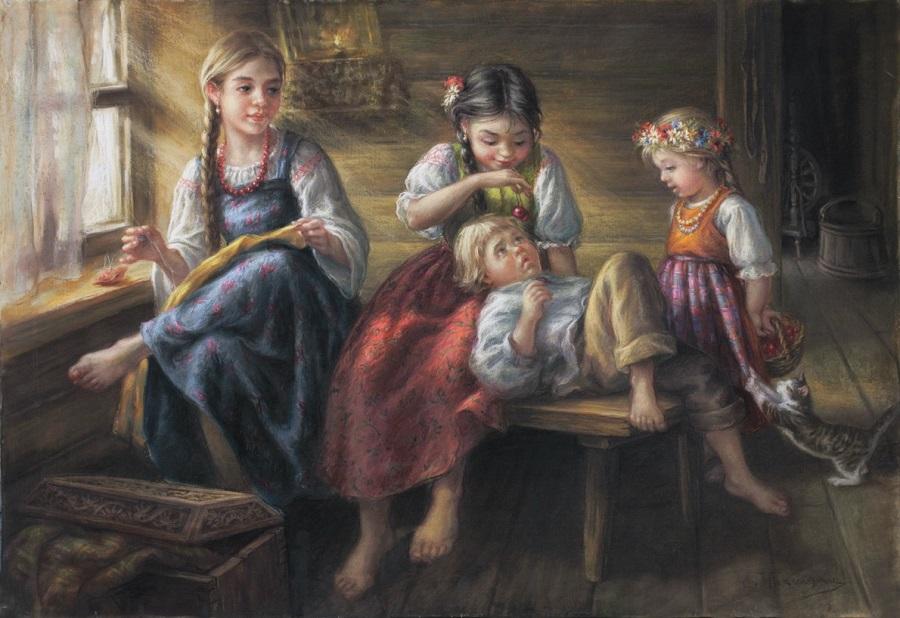 Дети в избе.