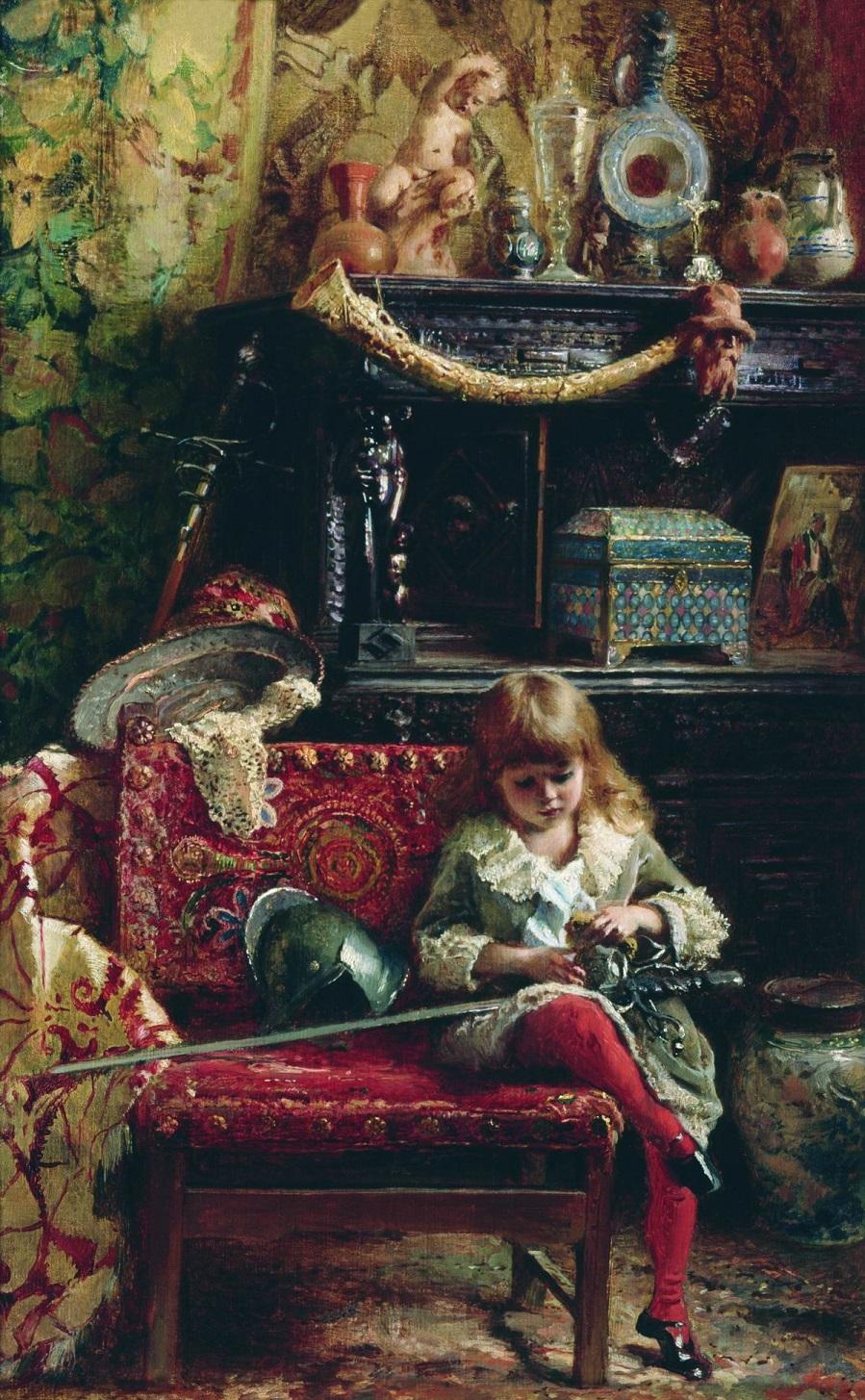 Портрет сына в мастерской (Маленький антиквар). 1882 Новгородский государственный объединенный музей-заповедник