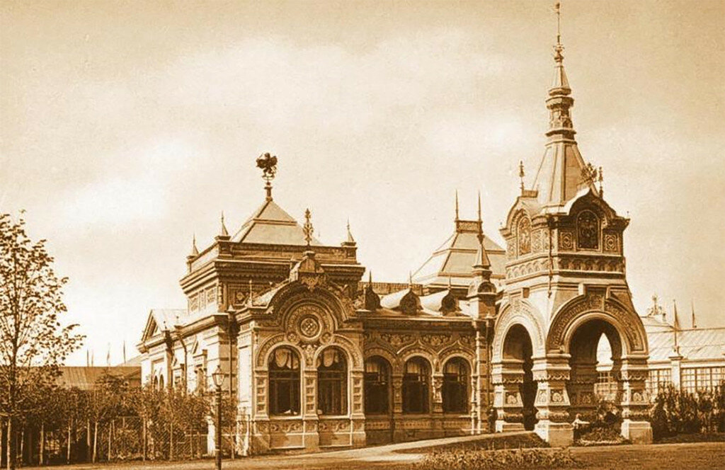 Imperial Pavilion at a construction pavilion, Imperial, Pavilion, this, exhibition, exhibition, style, almost, Khodynsky, building, decorated, All-Russian, art and industry, for example, later, sides, our, Building, wide, exquisite