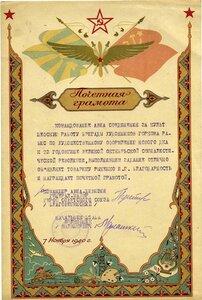 1940 Грамота за культ шефскую работу бригады художников