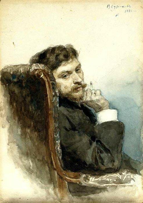Суриков В.И. Портрет Ильи Ефимовича Репина 1882