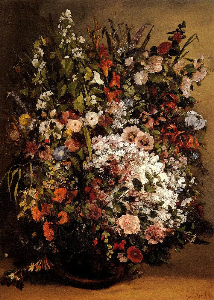 Гюстав Курбе: Букет цветов в вазе