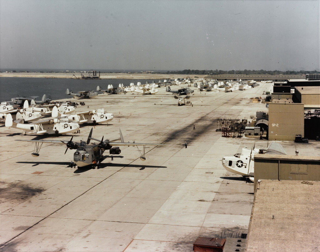 N.A.S. Norfolk, Virginia. Martin PBM Mariners on the seaplane apron, circa 1944-45.